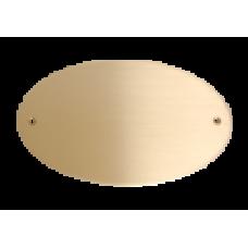 Skilt Messing Oval 150mm. x 90mm. med 2 skruehuller, børstet, lakeret.