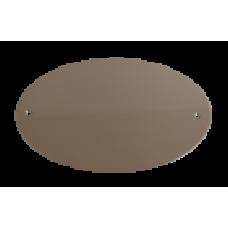 Skilt Sølv Oval 150mm. x 90mm. med 2 skruehuller, børstet.