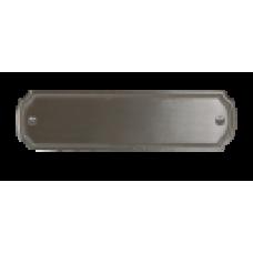 Skilt Messing 155mm. x 44mm. med 2 skruehuller, børstet mat forkromet.