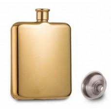 Lommelærke 6 OZ ca 177 ml. rustfrit stål guldfarve.