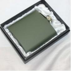 Lommelærke 6 oz rustfrit stål army grøn