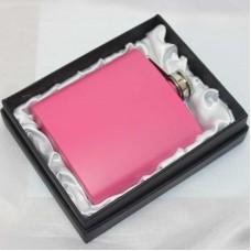 Lommelærke 6 oz rustfrit stål lys pink