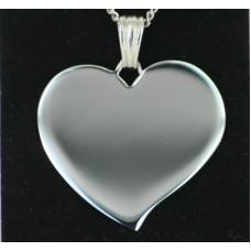Smykke Vedhæng Flared hjerte 37mm. x 35mm. Rustfrit Stål, Billede gravering 1 side.