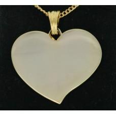 Smykke Vedhæng Flared hjerte 37mm. x 35mm. Forgyldt, Billede gravering 1 side.