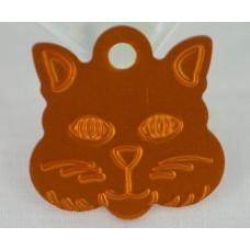 Kattetegn Aluminium, Nøglevedhæng, meget stort Katte Ansigt 29,3mm. x 29,4mm. 8 farver.