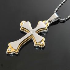 Smykke Vedhæng Kors 3 lags Rustfrit stål Med Smykkesten, kun tekst.