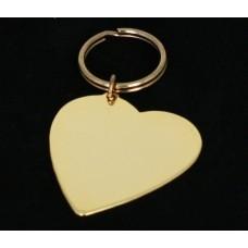 Nøglering key120 hjerte i forgyldt messing, Tekstgravering.