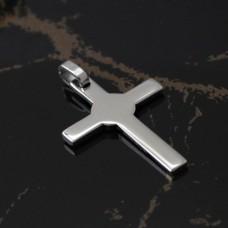 Smykke Vedhæng Kors 22mm. x 32mm. rustfrit stål, kun tekst.