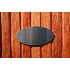 Skilt skuret rustfrit stål Oval 100mm. x 50mm. x 1,5mm.