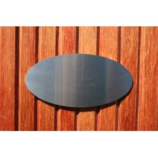 Skilt skuret rustfrit stål Oval 140mm. x 70mm. x 1,5mm.