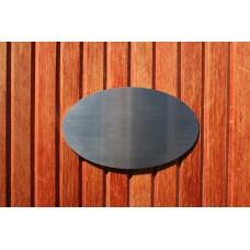 Skilt skuret rustfrit stål Oval 150mm. x 90mm. x 1,5mm.