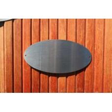 Skilt skuret rustfrit stål Oval 200mm. x 100mm. x 1,5mm. med 2 skruehuller.