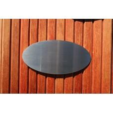 Skilt skuret rustfrit stål Oval 200mm. x 100mm. x 1,5mm.