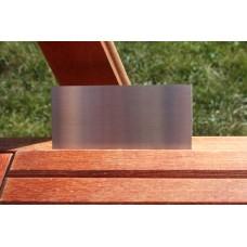 Skilt skuret rustfrit stål 100mm. x 50mm. x 1,5mm.