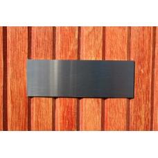 Skilt skuret rustfrit stål 115mm. x 40mm. x 1,5mm.