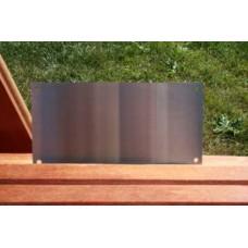 Skilt skuret rustfrit stål 160mm. x 80mm. x 1,5mm. med 4 skruehuller.