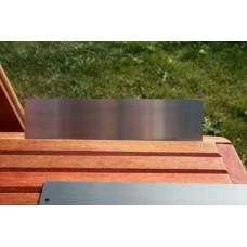 Skilt skuret rustfrit stål 200mm. x 50mm. x 1,5mm.