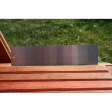 Skilt skuret rustfrit stål 150mm. x 25mm. x 1,5mm. med 2 skruehuller.