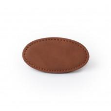 Reversskilt kunstskind oval 44,45mm x 82,55mm kastanje med magnet